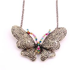 New Fashion Multi Color Rhinestone Resin Big Flying Butterfly Pendant Necklace