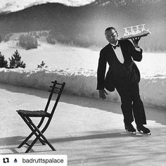"""life: """"Waiter Rene Breguet at waiter's school on skates practicing carrying tray of cocktails while on the ice, at the Grand Hotel in St. Moritz, Switzerland - (Photo by Alfred Eisenstaedt—The LIFE Picture Collection/Getty Images). Hotel St Moritz, Saint Moritz, Old Photos, Vintage Photos, Vintage Photographs, Iconic Photos, Slim Aarons, Ice Rink, Vintage Ski"""
