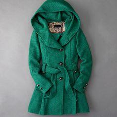 Steve Madden // Green Drama Hooded Coat // Zulily