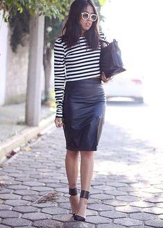 Zara Striped Crop Top, Vintage Leather Skirt, Zara Bag, Zara Heels, Local Shop Sunglasses