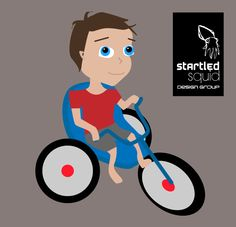 We create this vector image of a cheeky toddler on a tricycle for a local community walking group.  - www.startledsquid.com