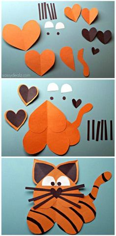preschool/kindergarten heart tiger craft, scissor skills, patterning, listening, prepositions, spacial awareness