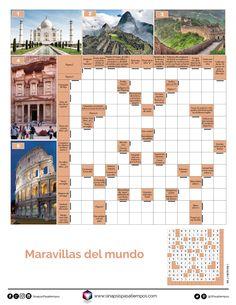 Autodefinido. Maravillas del mundo. #Pasatiempos #Entretenimiento #Autodefinidos #Crucigramas #MaravillasDelMundo #Monumentos  ¡Encuentra más pasatiempos en www.sinapsispasatiempos.com! Floor Plans, Pastel, Diagram, Spanish Exercises, Crossword Puzzles, Alphabet Soup, Wonders Of The World, Barn Owls, You Are Awesome