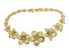 14K SOLID YELLOW GOLD GRADUATED HAWAIIAN PLUMERIA FLOWER BRACELET