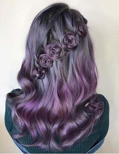Delightful Flower Braids on Gorgeous Pastel Hair to Blow People's Minds - The Right Hair Styles Ombre Hair, Purple Hair, Trendy Hairstyles, Braided Hairstyles, Rose Hairstyle, Festival Hairstyles, Blonde Hairstyles, Wedding Hairstyles, Cinnamon Hair