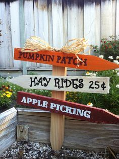 """Fall Yard Sign- 12""""/Pumpkin Patch/Hay Rides/Apple Picking on Etsy, $15.00"""
