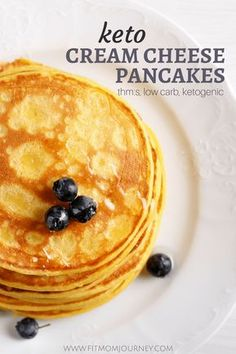 I've been missing delicious pancakes on Keto, but finally came up with a delectable replacement: Keto Cream Cheese Pancakes. These are fully Keto, a THM:S, Low Carb, as well as sugar free, gluten free, and grain free! #pancakes #keto #ketogenic #ketosis #breakfast #ketogenicdiet #ketogeniclifestyle #lchf #lowcarb #highfat #trimhealthymama
