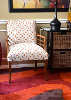 want to copy this fabric for my white chair. reupholster it    Vintage Mid Century Modern Chair in Orange Print by parsonsparlor, $325.00