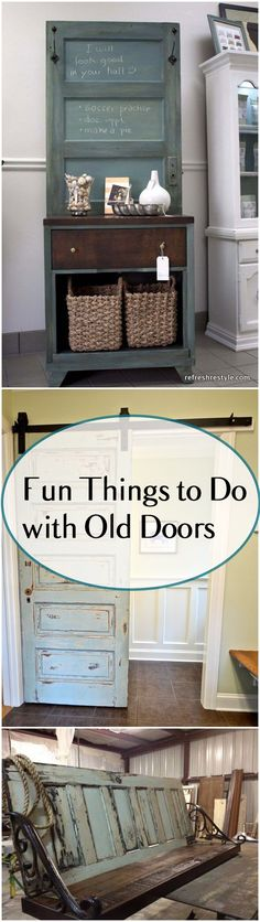 Wood Projects Fun DIY Projects you can make with old doors. - Fun Projects with Old Doors. Amazing upcycles and recycled old doors. Old Door Projects, Furniture Projects, Home Projects, Diy Furniture, Mission Furniture, Furniture Vintage, Furniture Making, Furniture Refinishing, Bathroom Furniture