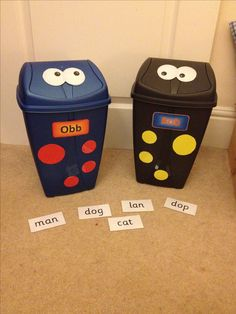 Your very own obb and bob from phonics play - choose the words/ purpose. The children can see the words/ post them in the bin mouths! Is it a real word or alien/silly word? Phonics Games, Phonics Reading, Kindergarten Reading, Early Years Teaching, Early Years Classroom, Primary Teaching, Teaching Phonics, Jolly Phonics, Teaching Ideas