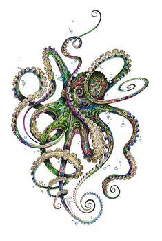 55 Eye Catching octopus Tattoos ideas for Men And Women - Bilder - Octopus Tattoo Design, Octopus Tattoos, Octopus Art, Octopus Tentacles Drawing, Octopus Painting, Tattoo Designs, Tattoos Mandala, Tattoos Geometric, Framed Art Prints