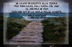 """Un grande poeta Whitman, in queste strofe decisamente """"incisivo"""" .. :)  Mi lascio in eredità alla terra, per rinascere dall'erba che amo, se ancora mi vuoi, cercami sotto la suola delle scarpe.  Walt Whitman - Il canto di me stesso  #waltwhitman, #cantodimestesso, #poesia, #italiano,"""