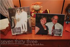 I already shared with you the bouquet and boutonniere that I made for my parents Vow Renewal. Today I'm going to show you some THEN & NOW DIY Picture Canvas I created for the event. We displayed these on the table when people walked into the church and then also at my aunt's home for …