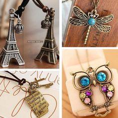Vintage Necklaces Women Cross Key Love Letters