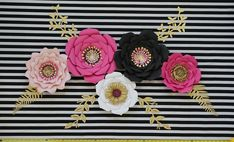 Pink Black White Gold Giant Paper Flowers Kate Spade Inspired Backdrop Flower Wall Decor, Chanel Inspired Party Bridal Shower... Flower Wall Decor, Flower Backdrop, Giant Paper Flowers, Large Flowers, Chanel Party, Black White Gold, Rose Gold Hair, Black Decor, Flower Arrangements