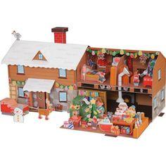 Das Haus des Weihnachtsmanns,Spielzeuge,Papiermodelle,Weihnachten,Party,Dekorationen,Weihnachtsmann,Haus