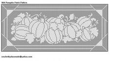 984 Pumpkin Tablecloth Runner Filet Crochet Doily Pattern