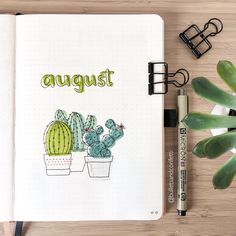 """I don't usually do cover pages, but I've been feeling """"doodley"""" (🤣) lately. Someone asked me if I could do a step by step tutorial on how… August Bullet Journal Cover, Bullet Journal Lists, Bullet Journal Writing, Bullet Journal Aesthetic, Bullet Journal Junkies, Bullet Journal Spread, Bullet Journal Inspiration, Journal Ideas, Journal Diary"""