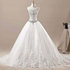 New Arrival Ball gown Sweetheart Chapel Train Tulle Applique Beading Long Wedding Dresses Prom Dresses Formal Dresses Evening Dresses 2014 Swarovski Wedding Dress, Crystal Wedding Dresses, White Lace Wedding Dress, Wedding Dress Train, Luxury Wedding Dress, Princess Wedding Dresses, Elegant Wedding Dress, Bridal Wedding Dresses, Bling Wedding
