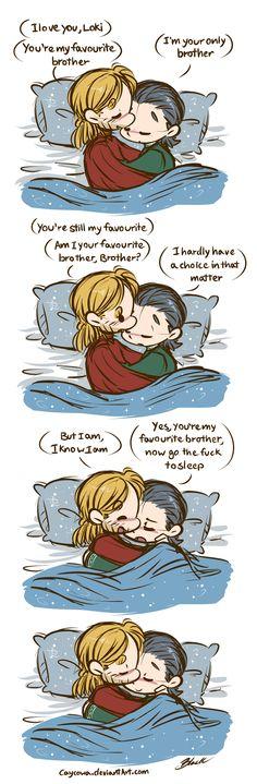 Thor/Loki Week - Day 4: Platonic Relationship by caycowa.deviantart.com on @deviantART