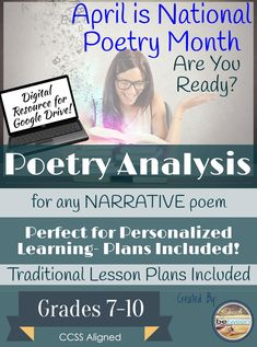 This Narrative Poetry unit is perfect for personalized, differentiated, flipped, and/or 1:1 technology classrooms! AND This pack also works great in teacher led and planned traditional classrooms! PDF printable options are included on EVERY activity! I have included lesson plans & unit plan for both types of instruction!
