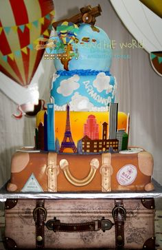 Around the World Birthday Party Stunning, beautiful, amazing, incredible and for me, my baby's perfect Cake   Travel Theme  Jayuya, Puerto Rico (by Azukar y Mas)