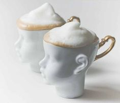 porcelain doll head cappuccino / teacups (Custom made in Poland)