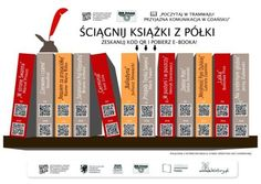 This image of a shelf of books allows people on the tram in Gdansk to read the titles for free - they just scan the QR code on their mobile phone to access the ebook. Cool