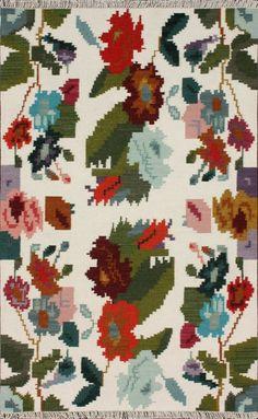 nuLOOM Marion White Multi Blossoms Kilim Rug