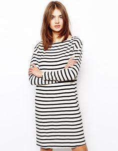 shoulder zip stripe dress | ASOS