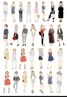 29 Pcs Girls Sticker Fashion Girls Watercolor Sticker Flakes Casual Outfit Filofax Stickers OOTD Outfit of the Day stickersTeenageManga Anime Outfits, Girl Outfits, Casual Outfits, Cute Outfits, Party Outfits, Office Outfits, Fashion Mode, Fashion Art, Girl Fashion