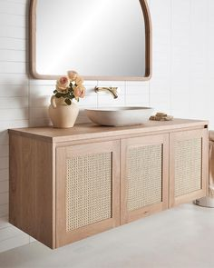 """Loughlin Furniture on Instagram: """"You had me at 'Rattan' 😍. Our love affair with rattan continues with the inclusion of our new Pacific Rattan vanity.. now up online…"""" Modern Bathroom Sink, Beige Bathroom, Bathroom Goals, Bathroom Renos, Laundry In Bathroom, Bathroom Colors, Small Bathroom, Minimalist Bathroom Design, Bathroom Interior Design"""