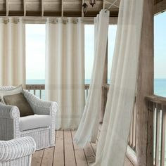 Shop for Elrene Bali Sheer Indoor/Outdoor Window Panel Curtain. Get free delivery On EVERYTHING* Overstock - Your Online Garden & Patio Store! Balcony Curtains, Outdoor Curtains, Drapes Curtains, Indoor Outdoor, Outdoor Living, Outdoor Spaces, Drapery Panels, Window Panels, Patio Store