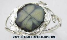 pulsera de quiastolita con plata hecho en relojeria ceballos de cudillero