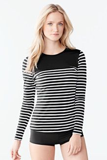 4882f9cce1e Women s Swim Tee Rash Guard - Blocked Stripe from Lands  End UPF 50 UV  protection can be worn in or out of the water