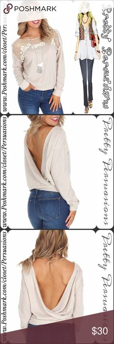 """SALE Cream Crochet Trim Draped Scoop Back Sweater NWT Cream Crochet Trim Draped Scoop Back Sweater   Available in Sizes: S, M Length: 22""""   Color: Cream-Sand  Fabric Content: 60% Polyester 40% Cotton   Features:  • crochet yoke  • long sleeves  • ribbed trim  • twisted scoop back  * Also available in heather gray in a separate listing   Bundle discounts available  No pp or trades  Item # 1/10920270SCCS  Knit crochet lace cozy sweater Pretty Persuasions Sweaters"""