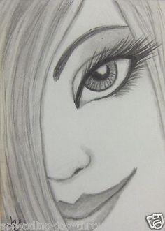 ACEO ATC Original Pencil #Drawing Beautiful #Sexy Girl Woman Face #Smile Cute