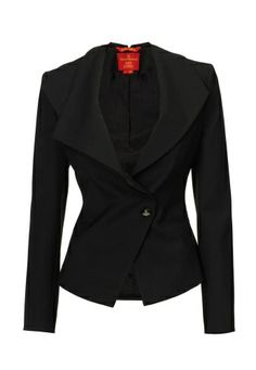 Step out in style this season with Vivienne Westwood's beautifully tailored jacket. In true Westwood style, this distinctive piece comes charmingly produced with a double draped asymmetric lapel and fastens with a single Orb engraved button. With darted detailing, this elegant jacket is the perfect finish for your Autumn/Winter 2013-14 ensemble.