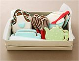 KITCHEN TEA mixing bowl, whisk, teapot, rolling pin, apron 10 cookies in illustrated box $42.50