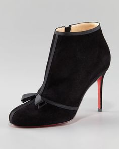 Christian Louboutin Arnoeud Grosgrain-Bow Suede Ankle Boot