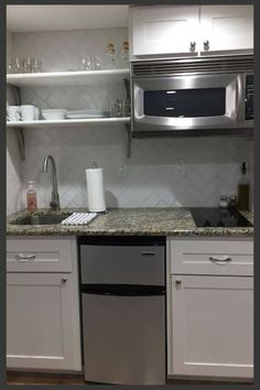 Kitchenette complete with a sink, microwave, fridge/freezer, stove top and coffee maker. Small Basement Kitchen, Basement Kitchenette, Small Apartment Kitchen, Small Basement Apartments, Kitchenette Ideas, Basement Makeover, Basement Renovations, Basement Designs, Bathroom Remodeling
