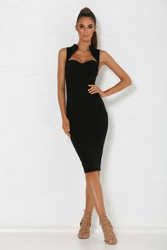 Malia Midi Dress - Black from Meshki Boutique