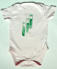 Test tube Bodysuit.  Baby Science Onesie.  Chemistry Geek Baby Girl. £10.50, via Etsy.