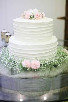 Mint Green Cake With Colour Grant Ombre And Wave Pattern Accented By An Abstract Flower Tangerine Orange Centre Used As A Focal Point I