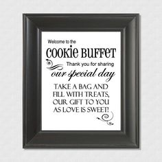 "Welcome to the Cookie Buffet Wedding 8"" x 10"" Sign - Printable file - Instant download"