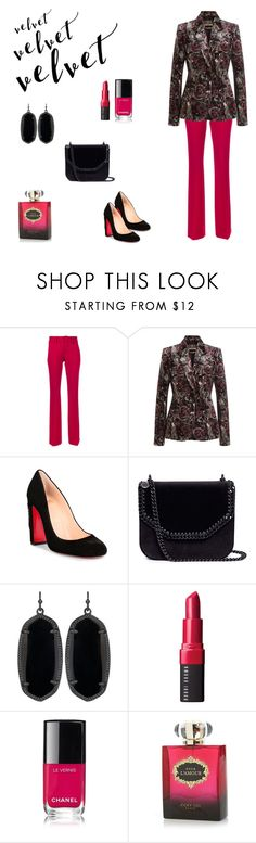 """Velvet Revelation (contest entry)"" by scolab ❤ liked on Polyvore featuring Dondup, Roberto Cavalli, Christian Louboutin, STELLA McCARTNEY, Kendra Scott, Bobbi Brown Cosmetics and Vicky Tiel"