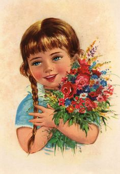 Vintage  Postcard 70s Sweet girl with flowers