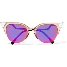 Fendi Swarovski crystal-embellished cat-eye acetate and metal... (665 AUD) ❤ liked on Polyvore featuring accessories, eyewear, sunglasses, glasses, purple, embellished sunglasses, purple lens sunglasses, purple glasses, cat-eye glasses and futuristic sunglasses