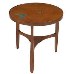 Edward Wormley occasional table, by Dunbar, walnut, model 5741N, round top with four round inset Gertrud & Otto Natzler tiles