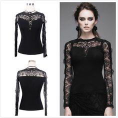 Devil Fashion Black Goth Punk Visual Kei Long See-through Sleeve Lace Top Shirt | eBay